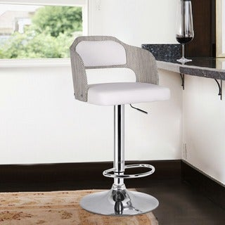 Adeco White Leatherette Bent Wood Chrome Hydraulic Lift Low Back Adjustable Pedestal Bar Stool