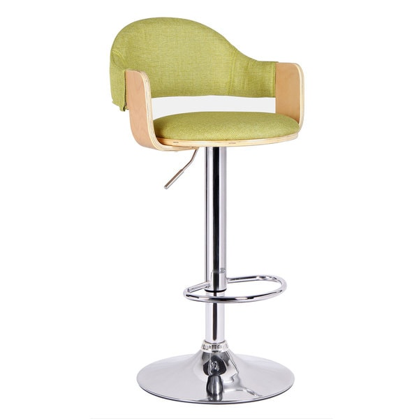 Adeco Light Wood Green Fabric Cushioned Low Back Chrome