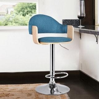 Adeco Light Wood Blue Fabric Cushioned Low Back Chrome Pedestal Base Hydraulic Lift Adjustable Bar Stool