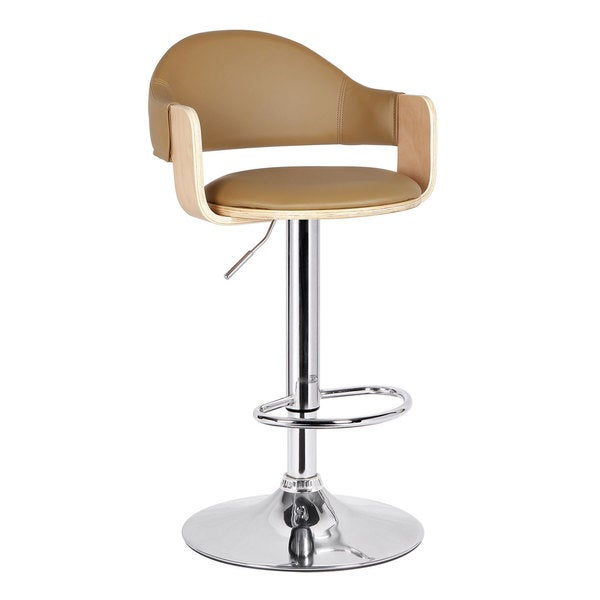 Adeco Light Wood Beige Fabric Cushioned Low Back Chrome Pedestal Base Hydraulic Lift Adjustable Bar Stool