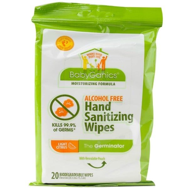 BabyGanics Alcohol- Hand Sanitizer On-the-Go Wipes - Light Citrus (Pack of 20)