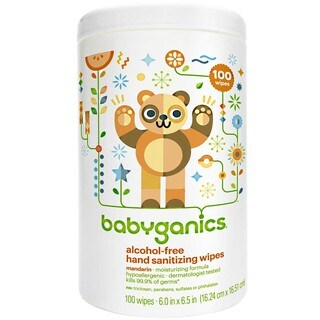 BabyGanics Alcohol Hand Sanitizer Wipes 100 Count Canister - Mandarin