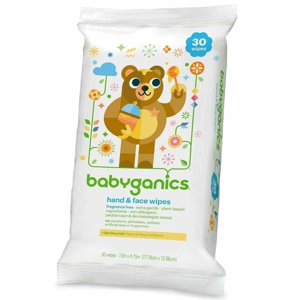 BabyGanics Fragrance- Hand and Face Wipes 30 Count