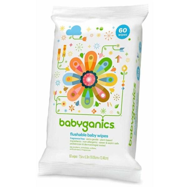 BabyGanics Flushable Wipes - 60 Count