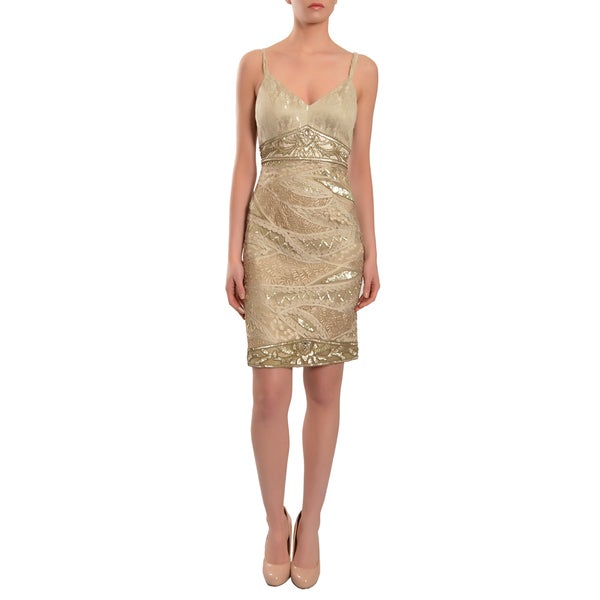 Sue Wong Women's Glittering Metallic Shimmer Beige Embellished Sequin Cocktail Party Dress