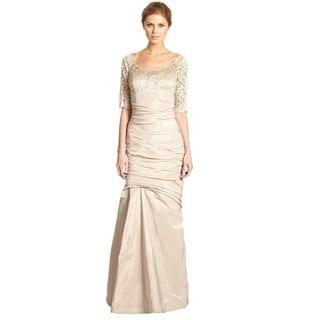 Rickie Freeman Teri Jon Champagne Beige Lace Trimmed Trumpet Evening Gown Dress