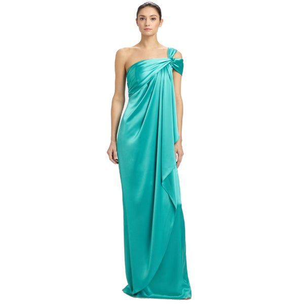 St. John Jade Green Asymmetric Draped Satin Split Sleeve Evening Gown Dress