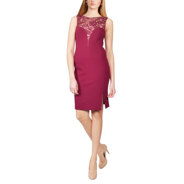 Emilio Pucci Purple Jersey Lace Yoke Sweetheart Sheath Cocktail Dress