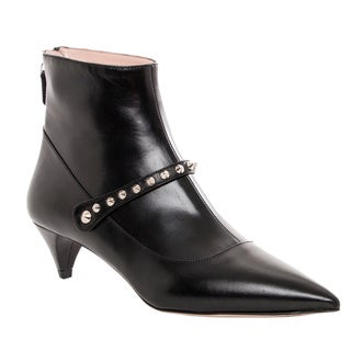 Miu Miu Women's Black Leather Studded Ankle Boots
