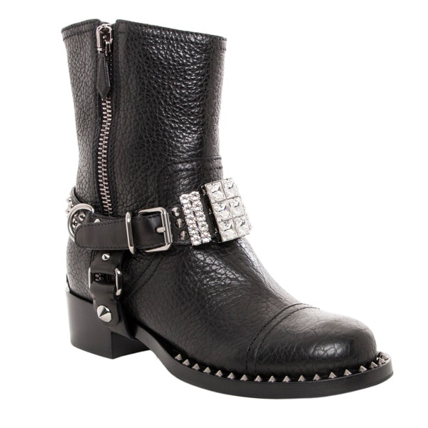 Miu Miu Women's Black Leather Studded and Rhinestone Biker Boots