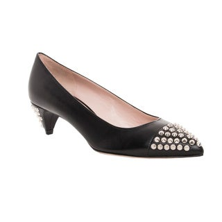 Miu Miu Women's Black Leather Studded Kitten Heel Pumps