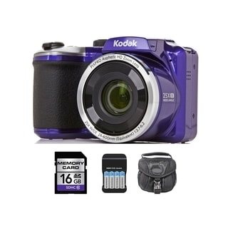 Kodak AZ251 16MP Purple Digital Camera and 16GB SD Card Bundle
