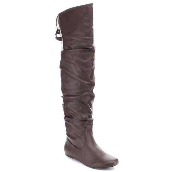 Women's Soda Letta Slouchy Flat Knee High Boots