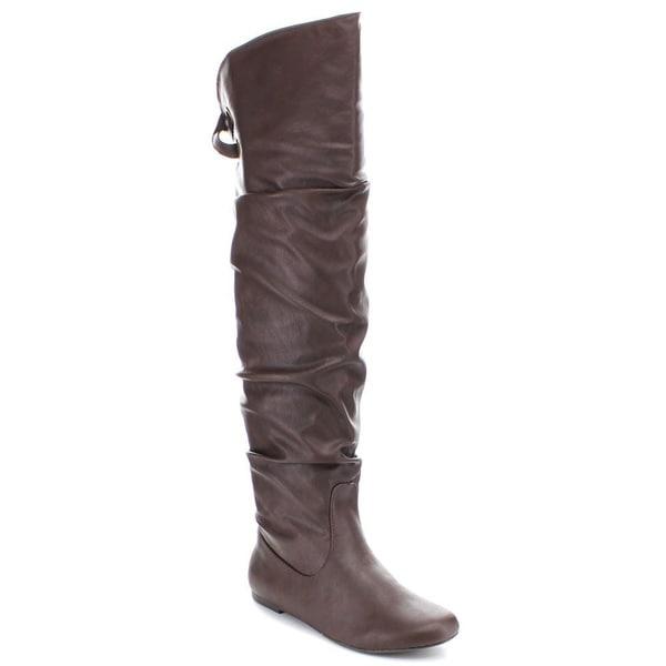 Women's Soda Letta Slouchy Flat Knee High Boots