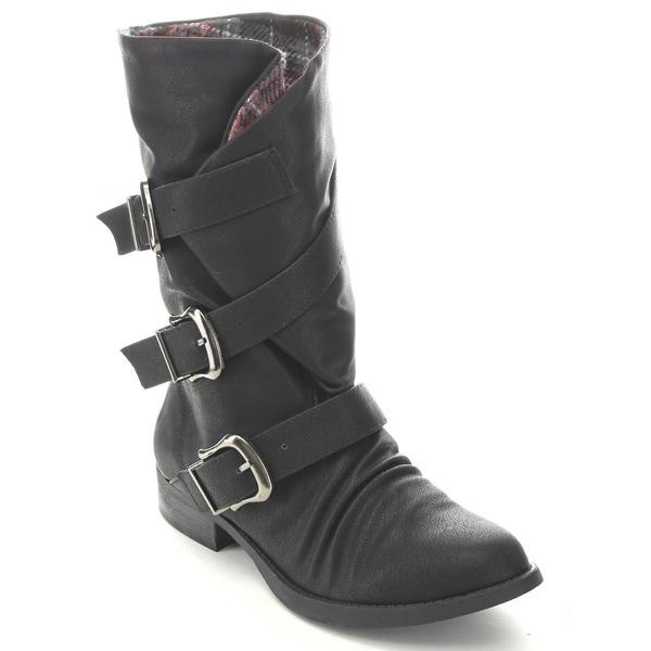 Soda Women's Norris-S Mid Calf Combat Boots