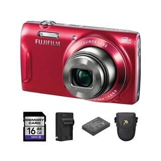 Fujifilm T550 16MP Red Digital Camera and 16GB SD Card Bundle