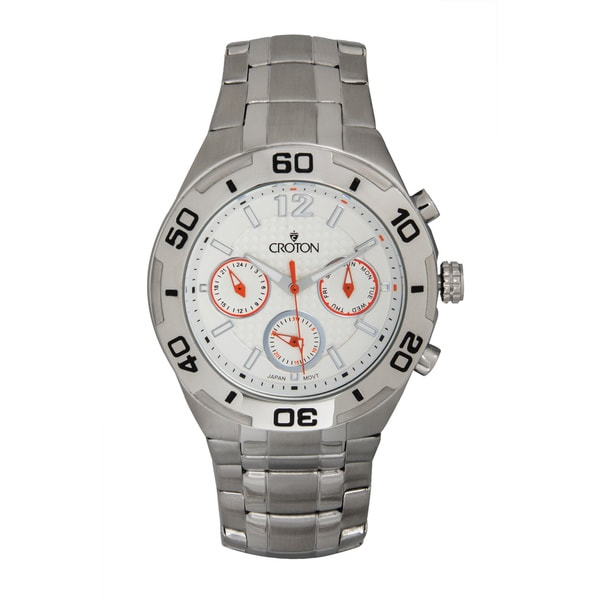 Croton Men's Stainless Steel Multi-function White Dial Sport Watch