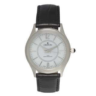 Croton Women's Stainless Steel Patterned Dial Leather Strap Watch