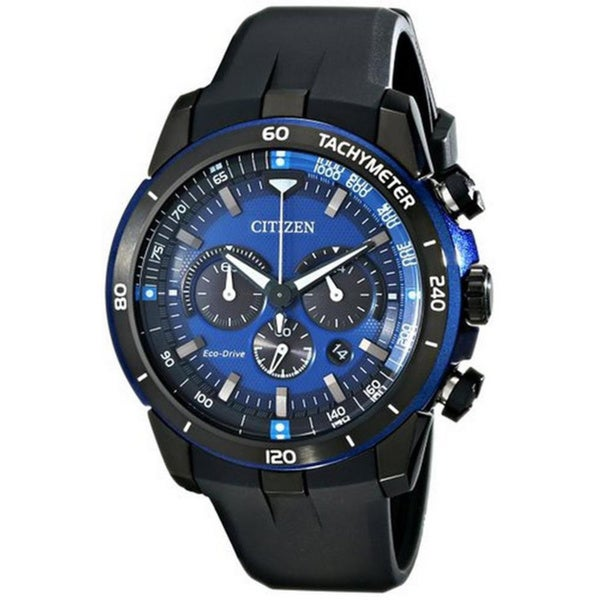 Citizen Men's CA4155-12L Eco-Drive Chronograph Blue Dial Black Rubber Watch