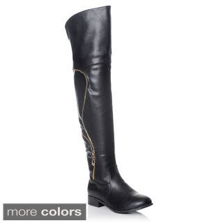 NY VIP Women's Over-the-knee Zipper Detail Riding Boot