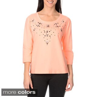 Three Hearts Women's Jewel Embellished 3/4 Sleeve Jersey Top with Front
