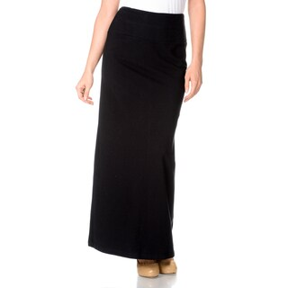 Teez=Her Women's Instant Smooth and Slim Stretch Jersey Full Length Maxi Skirt with Hidden Smoothing Panel