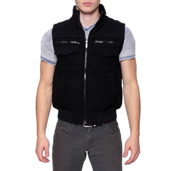 Men's Black Slim Fit Quilted Fashion Vest