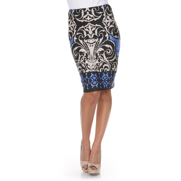White Mark Women's Medallion Print Victoria Pencil Skirt