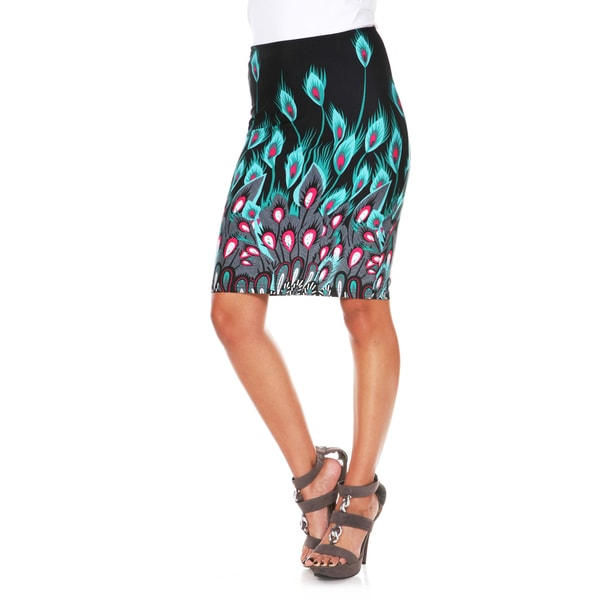 White Mark Women's Peacock Feather Print 'Victoria' Pencil Skirt