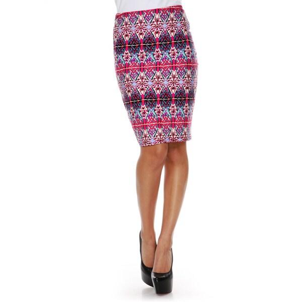 White Mark Women's Kaleidoscope Craze Print 'Victoria' Pencil Skirt