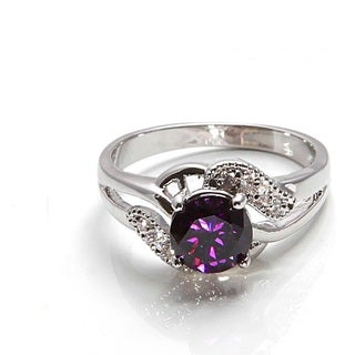 10k White Goldplated Amethyst and Crystal Ring