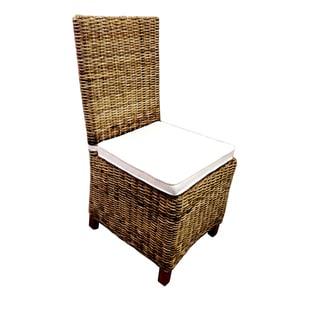 D-Art Rattan Wicker Mahogany Wood Side Chair (Indonesia)