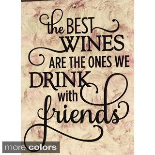 Wine with Friends Decorative Ceramic Tile with Vinyl