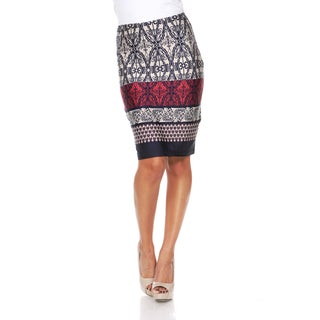 White Mark Women's Moroccan Print 'Victoria' Pencil Skirt