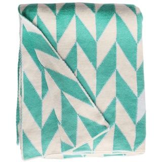 Monroe Knit Turquoise and White Cotton Throw Blanket (India)