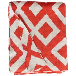 Marina Knit Carrot Orange and White Geometric Cotton Throw (India)