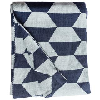 Faros Knit Geometric Blue Cotton Throw Blanket (India)