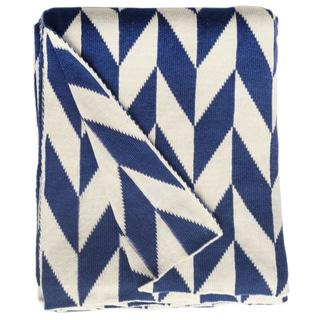 Monroe Knit Blue and White Geometric Cotton Throw (India)