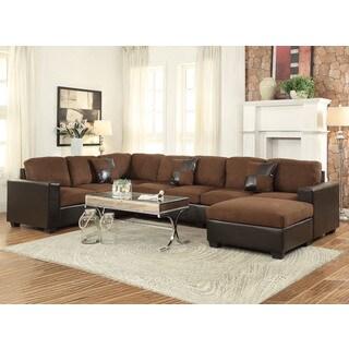 Dannis Chocolate Microfiber Reversible Sectional Sofa