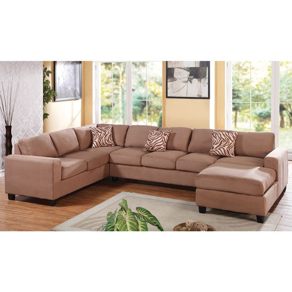 Dannis Saddle Microfiber Reversible Sectional Sofa