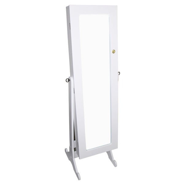 White Standing Storage Mirror