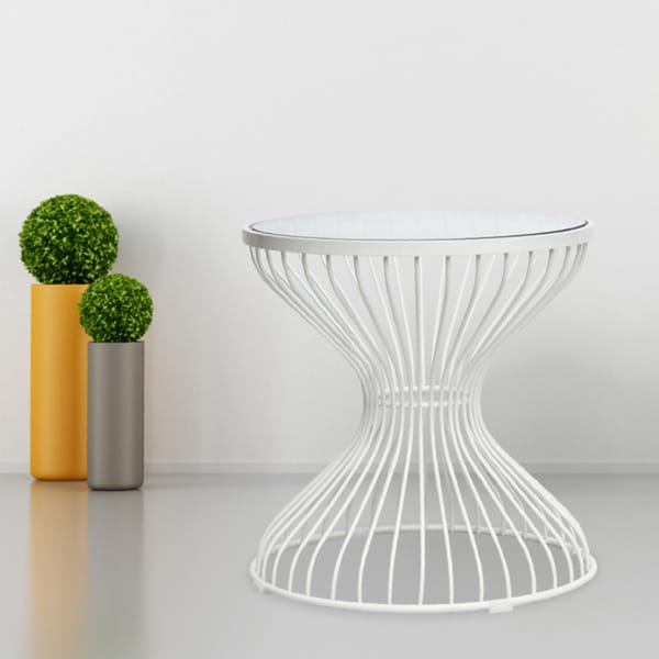 White Steel Squeezed Side Table