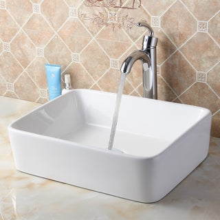 Elite 9924+882002 Rectangle High Temperature Grade A Ceramic Bathroom Sink and Faucet
