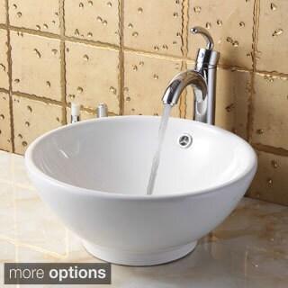 Elite 9851+882002 Round High Temperature Grade A Ceramic Bathroom Sink and Faucet