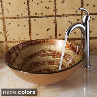 Elite 7003+882002 Modern Design Tempered Glass Bathroom Vessel Sink and Faucet Combo