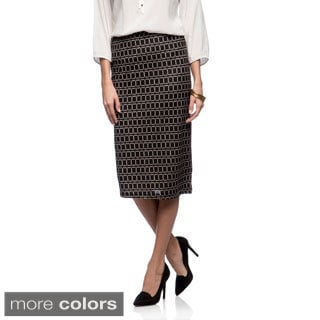 Lucky & Coco Missy Geometric Print Mid-length Skirt