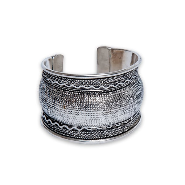 Textured Curved Silverplated Cuff Bracelet (India)