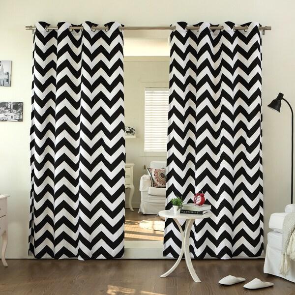 Aurora Home Chevron Print Room Darkening Grommet Top 63-inch Curtain ...