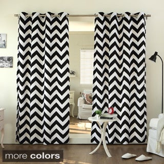 Aurora Home Velvet Chevron Print Grommet Top 84-inch Curtain Panel Pair