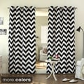 Lights Out Velvet Chevron Print Grommet Top 84-inch Curtain Panel Pair